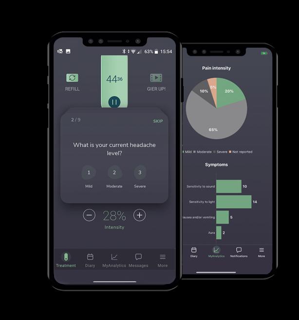 Nerivio's app screens - diary and analytics
