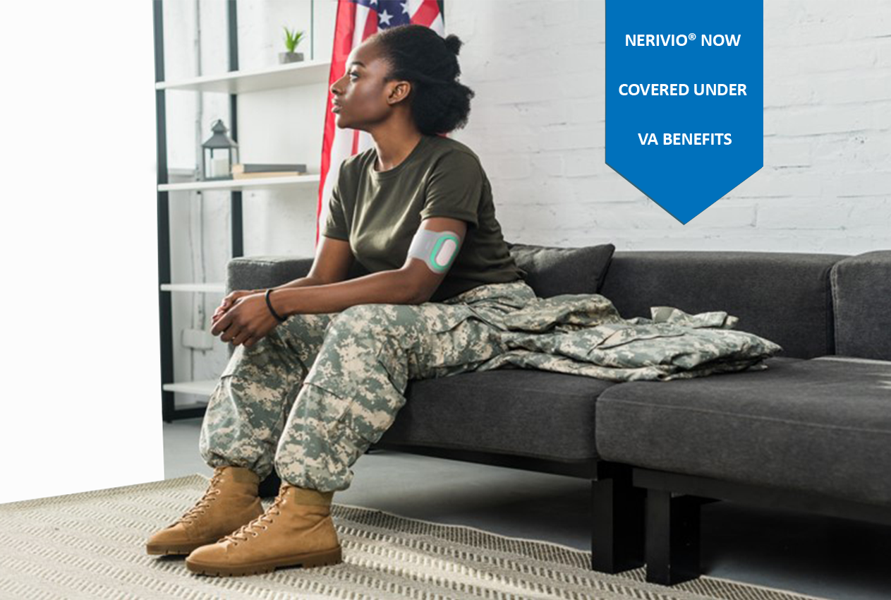 woman veteran using Nerivio mobile
